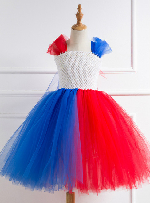 Halloween Red Blue Color Matching Dress