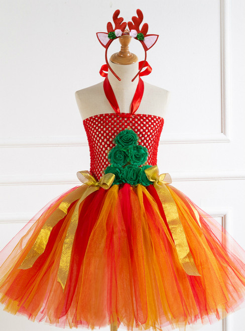 Christmas Flower Bow Tulle Dress
