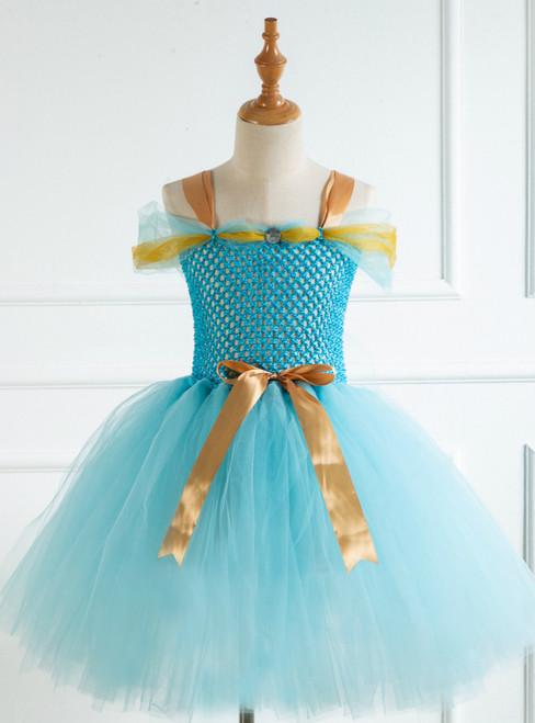 Light Blue Female Short Bow Tutu Dress
