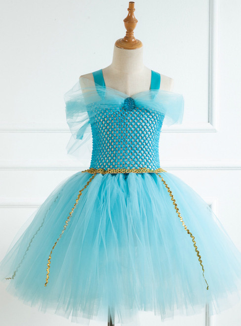 Girls Light Blue Female Short Bow Tutu Dress