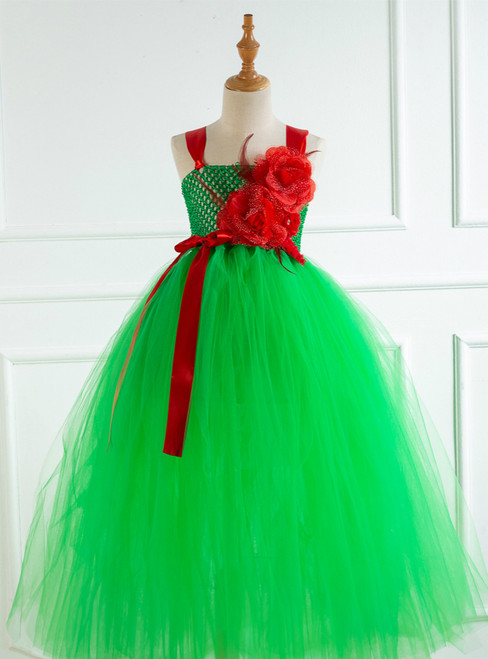 Green Tulle Handmade Flower Tutu Dress