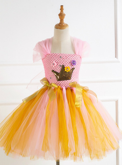 Sequin Gold Crown Pink Girl Dress