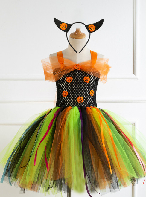 Send Headdress Halloween Pumpkin Dress