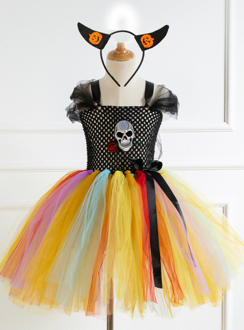Girls Halloween Skull Tulle Tutu Dress