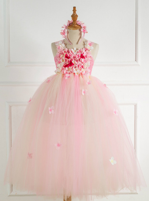 Children's Mesh Petals Pink Tulle Dress