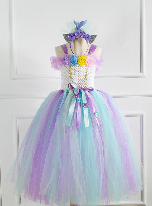 Flower Ribbon Tulle Tutu Dress