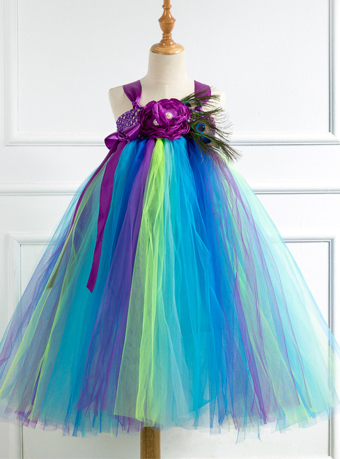 Peacock Feather Purple Flowers Girl Dress