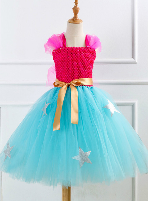 Creative Five Star Sequined Mesh Tutu Dress