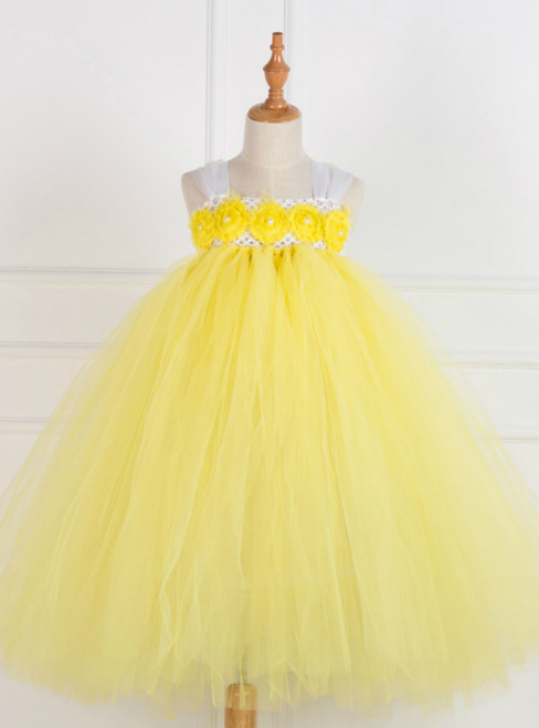 Yellow Tulle Tutu Birthday Party Dress