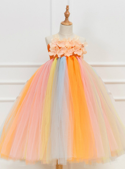 Flower Tulle Tutu Party Girls Dress