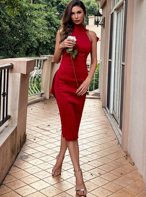 In Stock:Ship in 48 Hours Burgundy Bow Irregular Party Dress