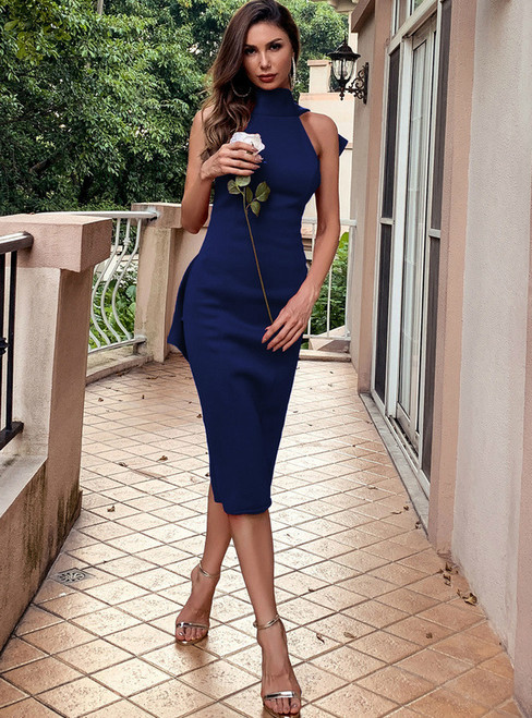 In Stock:Ship in 48 Hours Navy Blue Bow Irregular Party Dress
