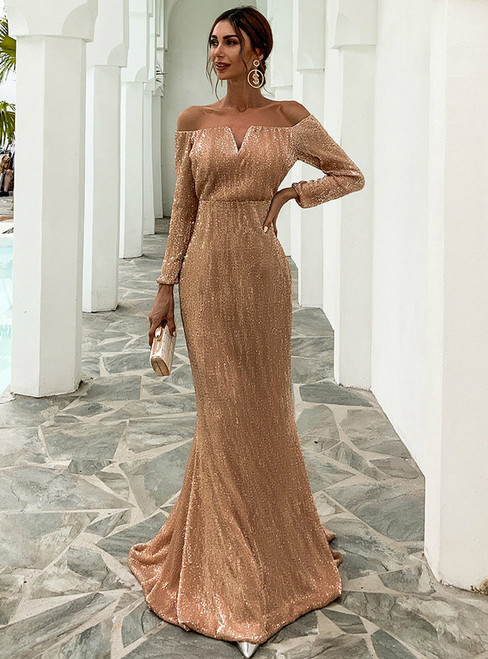 In Stock:Ship in 48 Hours Gold Mermaid Sequins Long Sleeve Party Dress