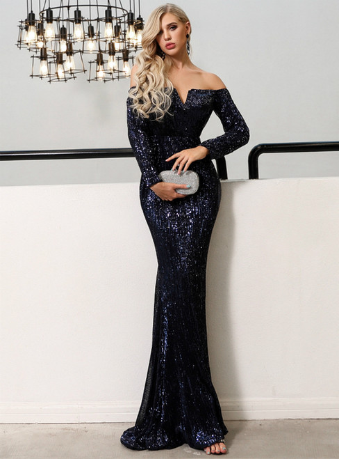 In Stock:Ship in 48 Hours Blue Mermaid Sequins Long Sleeve Party Dress