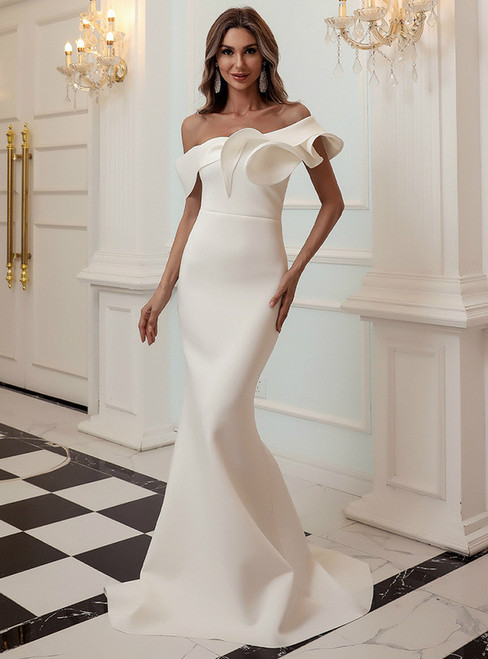 In Stock:Ship in 48 Hours White Mermaid One Shoulder Party Dress