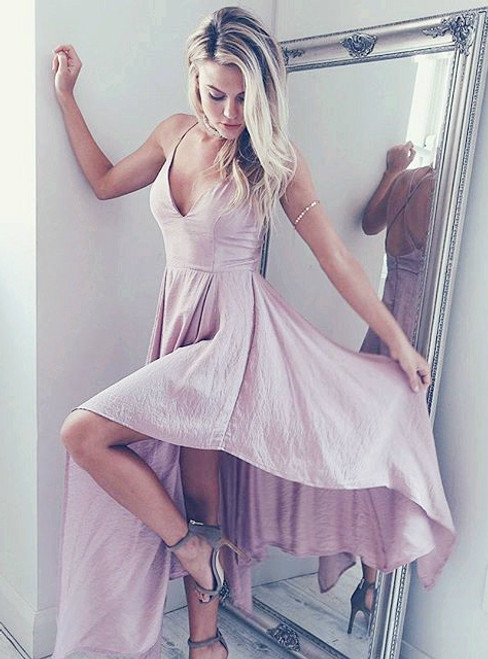 Casual Chiffon Prom Dress with Irregular Skirt Edge