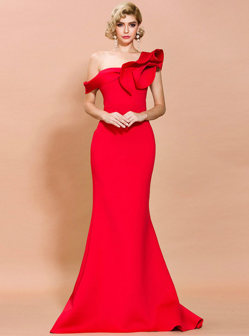In Stock:Ship in 48 Hours Red Mermaid One Shoulder Party Dress