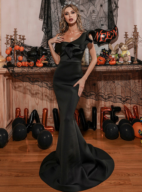 In Stock:Ship in 48 Hours Black Mermaid One Shoulder Party Dress
