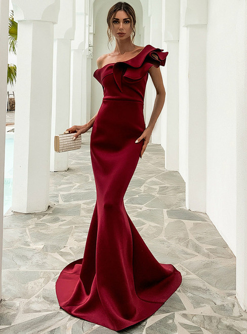 In Stock:Ship in 48 Hours Burgundy Mermaid One Shoulder Party Dress