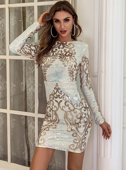 In Stock:Ship in 48 Hours Gold Sequins Long Sleeve Backless Party Dress