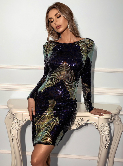 In Stock:Ship in 48 Hours Navy Blue Sequins Long Sleeve Backless Party Dress