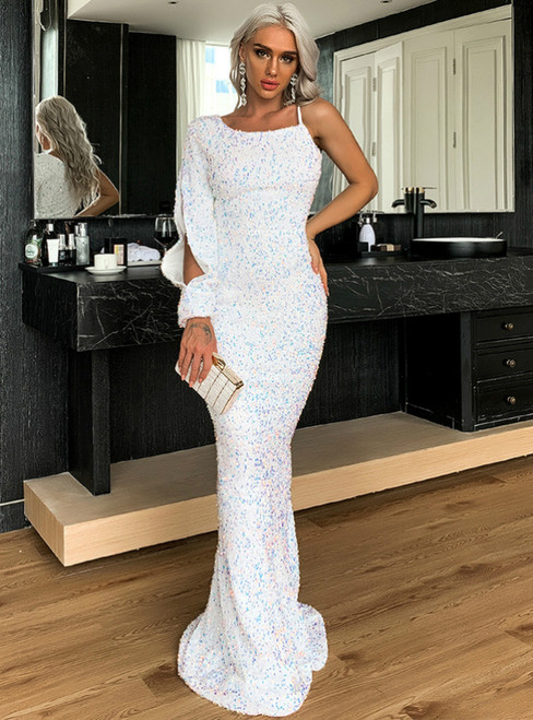 In Stock:Ship in 48 Hours White Mermaid Sequins Prom Dress