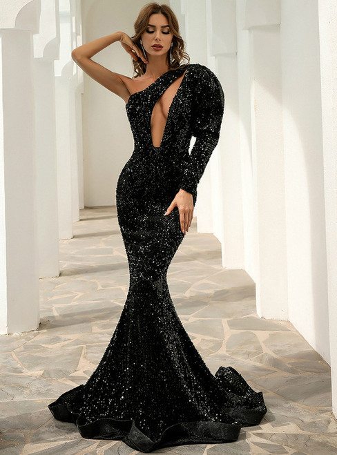 In Stock:Ship in 48 Hours Sexy Black Mermaid Sequins Party Dress
