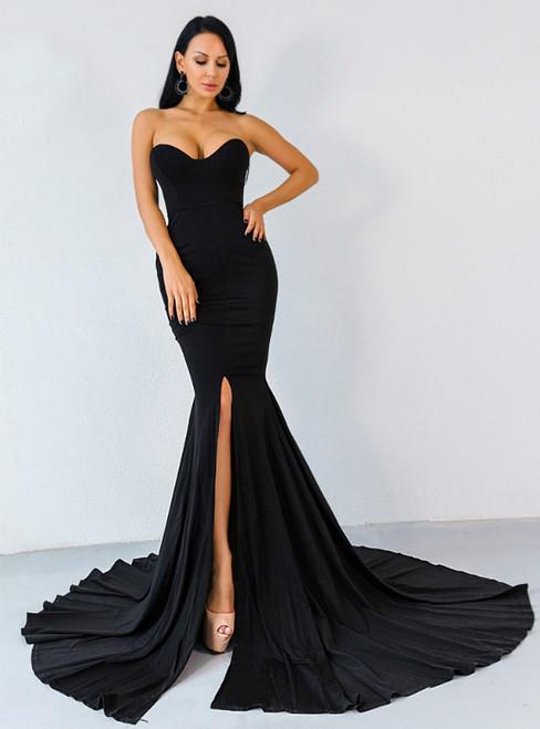 In Stock:Ship in 48 Hours Black Mermaid Satin Party Dress