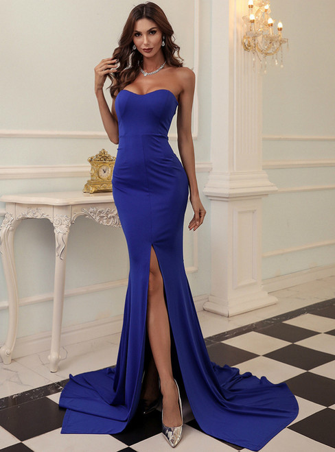 In Stock:Ship in 48 Hours Blue Mermaid Satin Party Dress