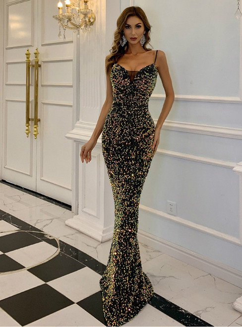 In Stock:Ship in 48 Hours Colorful Sequins Spaghetti Straps Party Dress