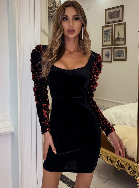 In Stock:Ship in 48 Hours Black Velvet Long Sleeve Party Dress