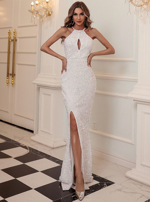 In Stock:Ship in 48 Hours White Mermaid Sequins Halter Party Dress