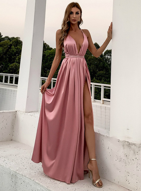 In Stock:Ship in 48 Hours Pink Spaghetti Straps Backless Party Dress
