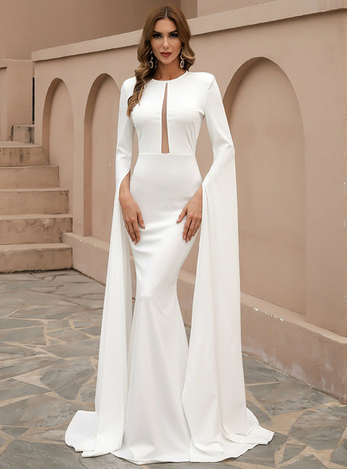 In Stock:Ship in 48 Hours White Mermaid Long Sleeve Party Dress