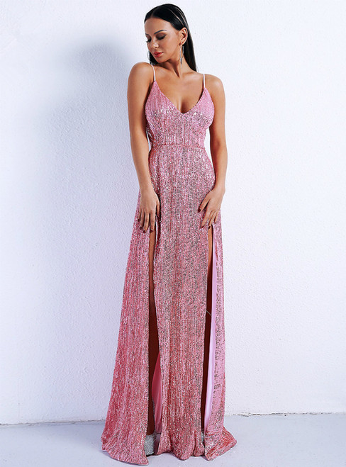 In Stock:Ship in 48 Hours Pink Sequins Spaghetti Straps Party Dress