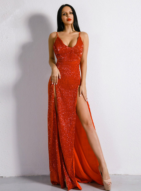 In Stock:Ship in 48 Hours Red Sequins Spaghetti Straps Party Dress With Split