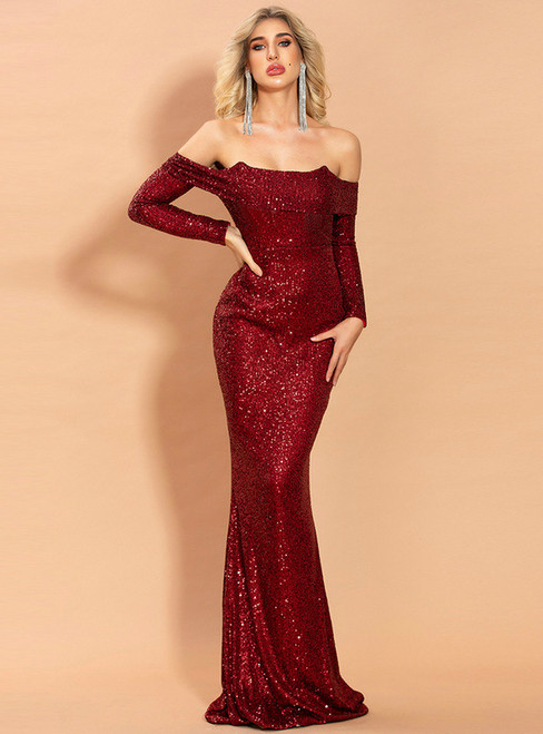 In Stock:Ship in 48 Hours Burgundy Mermaid Sequins Party Dress