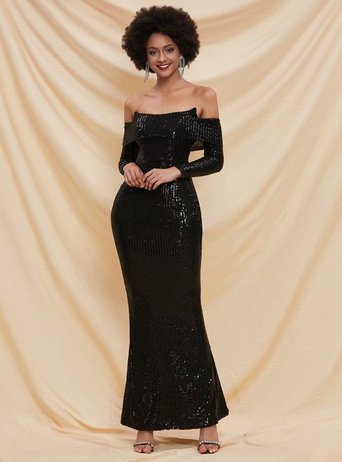 In Stock:Ship in 48 Hours Black Mermaid Sequins Party Dress