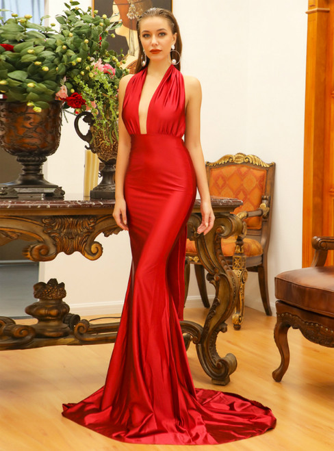 In Stock:Ship in 48 Hours Red Mermaid Satin Backless Party Dress