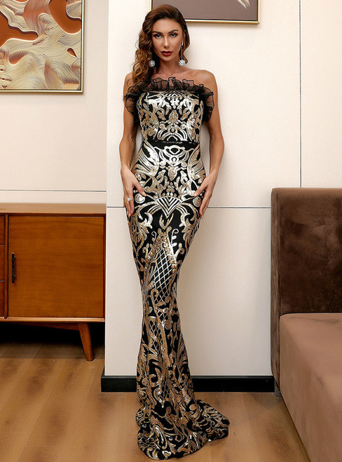 In Stock:Ship in 48 Hours Gold Mermaid Sequins Strapless Party Dress