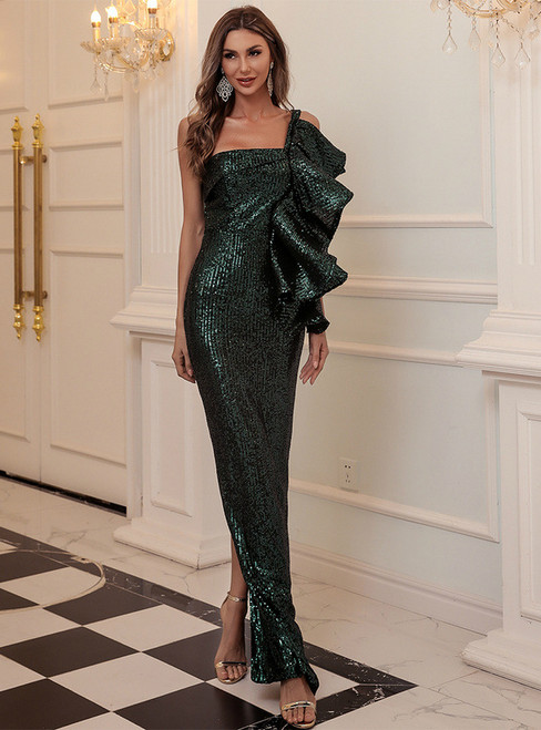 In Stock:Ship in 48 Hours Green Mermaid Sequins One Shoulder Party Dress