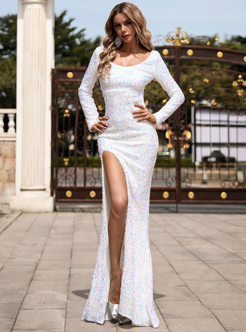 In Stock:Ship in 48 Hours White Mermaid Sequins Long Sleeve Party Dress