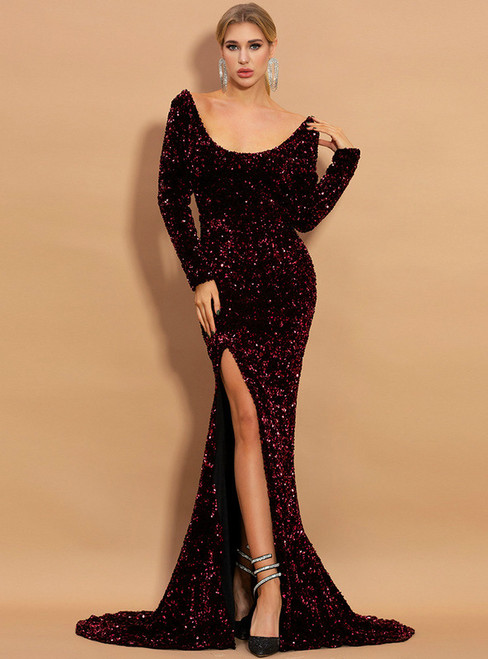 In Stock:Ship in 48 Hours Burgundy Mermaid Sequins Square Party Dress