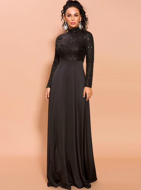 In Stock:Ship in 48 Hours Black Long Sleeve High Neck Sequins Party Dress
