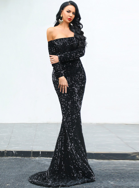 In Stock:Ship in 48 Hours Fashion Black Mermaid Sequins Party Dress