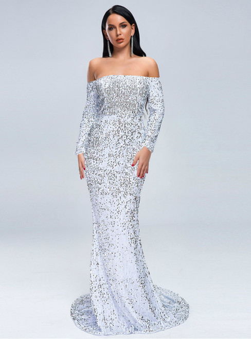 In Stock:Ship in 48 Hours Cheap White Mermaid Sequins Party Dress