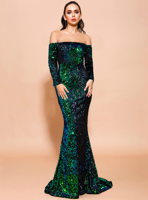 In Stock:Ship in 48 Hours Cheap Green Mermaid Sequins Party Dress