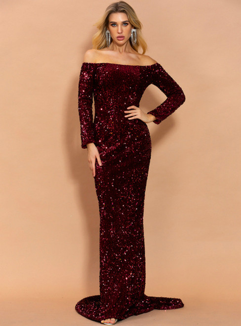 In Stock:Ship in 48 Hours Cheap Burgundy Mermaid Sequins Party Dress