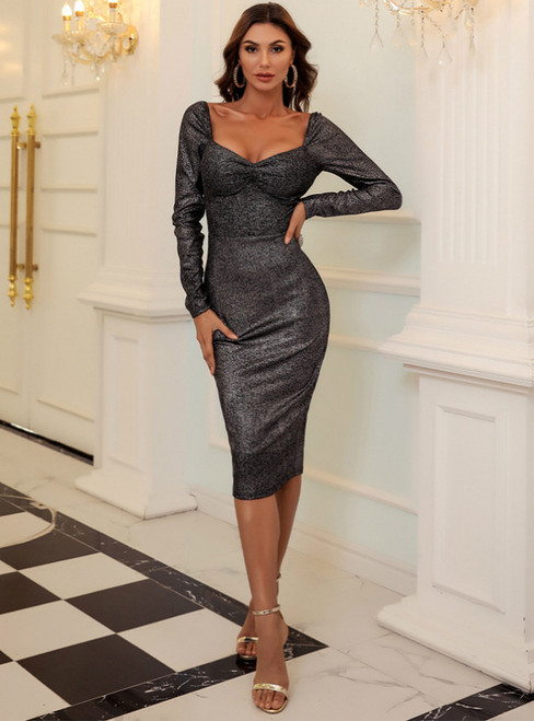 In Stock:Ship in 48 Hours Gray Mermaid Square Long Sleeve Party Dress