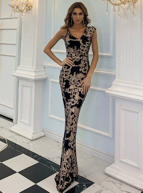 In Stock:Ship in 48 Hours Black Mermaid Gold Sequins Party Dress
